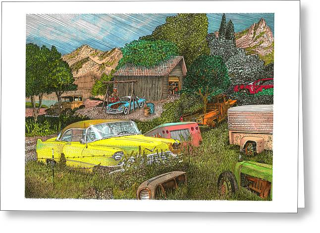 Picking Drawings Greeting Cards - Wrecking Yard 1956 Caddy in an American Field of Dreams Greeting Card by Jack Pumphrey