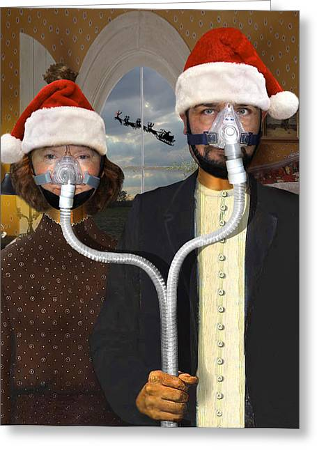 Apnea Greeting Cards - An American Gothic Sleep Apnea Merry Christmas Greeting Card by Mike McGlothlen