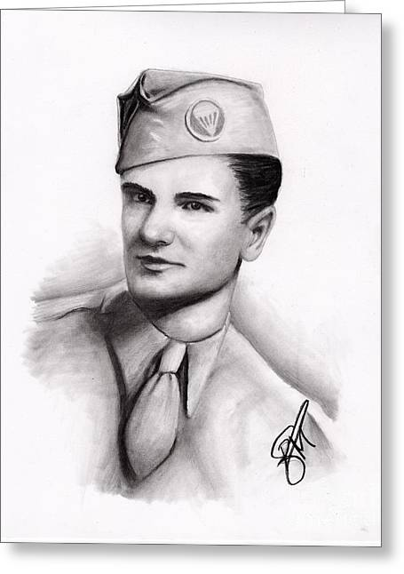Veteran Drawings Greeting Cards - An American Hero Greeting Card by Rosalinda Markle