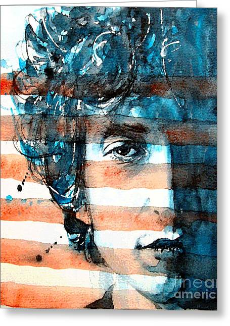 Bob Dylan Print Greeting Cards - An American icon Greeting Card by Paul Lovering