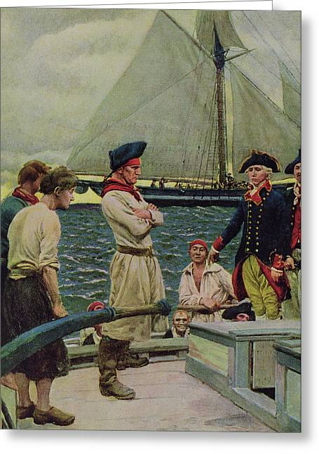 Pirate Ships Photographs Greeting Cards - An American Privateer Taking A British Prize, Illustration From Pennsylvanias Defiance Greeting Card by Howard Pyle