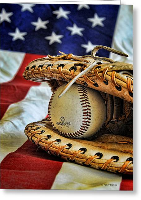 Softball Mitt Greeting Cards - An American Tradition Greeting Card by Kenny Francis