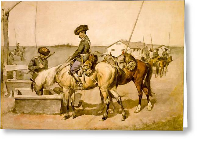 The Horse Greeting Cards - An Amoor Cossack Greeting Card by Frederic Remington