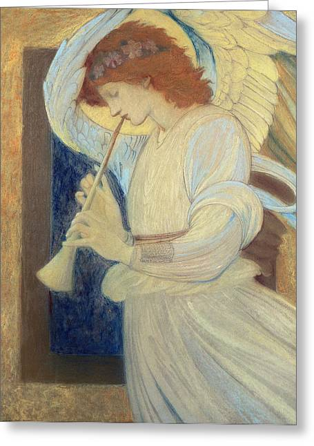 Gold Angel Greeting Cards - An Angel Playing a Flageolet Greeting Card by Sir Edward Coley Burne-Jones