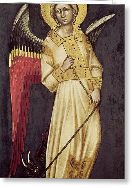 Archangel Greeting Cards - An Angel with a Demon on a Chain Greeting Card by Ridolfo di Arpo Guariento