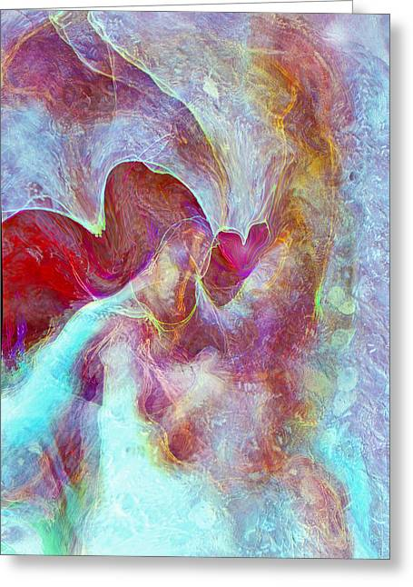 Abstract Digital Digital Greeting Cards - An Angels Love Greeting Card by Linda Sannuti