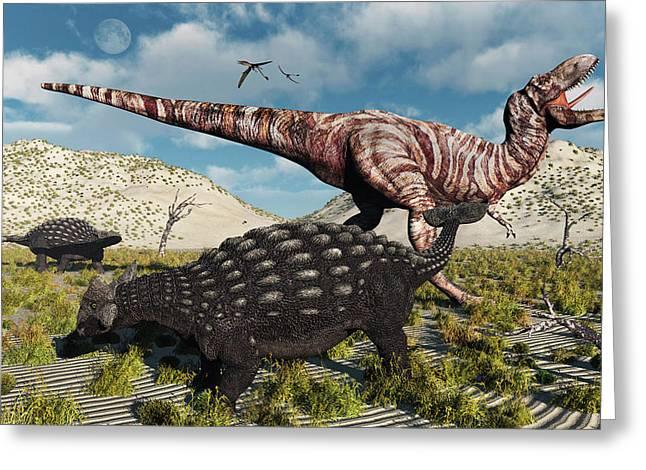 An Ankylosaurus Defending Itself Greeting Card by Mark Stevenson