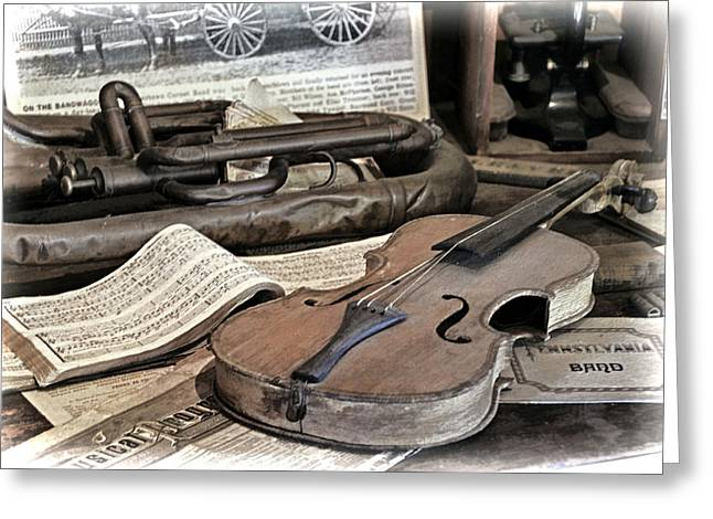 Book On A Table Greeting Cards - An Antique Violin Greeting Card by Elaine Walsh