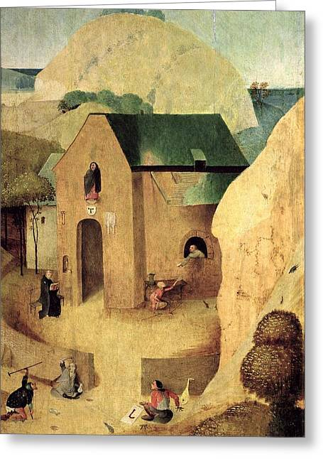 An Antonian Priory Oil On Panel Reverse Of 28165 Greeting Card by Hieronymus Bosch