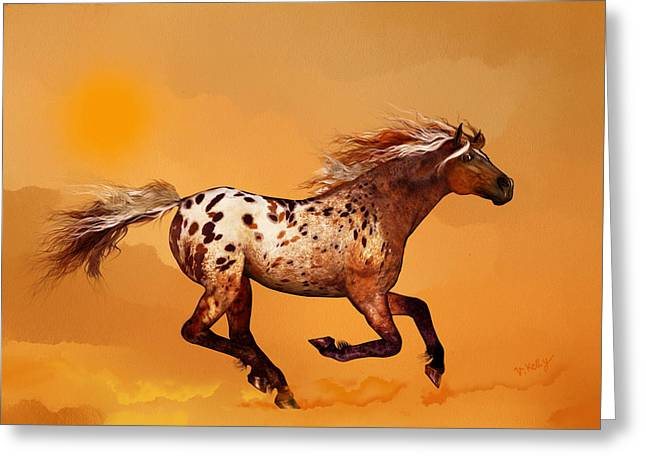 Kelly Mixed Media Greeting Cards - An Appaloosa called Ginger Greeting Card by Valerie Anne Kelly