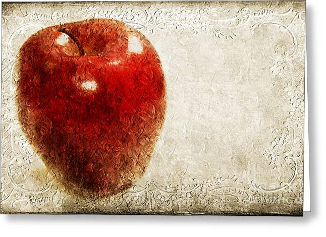 Apple Art Mixed Media Greeting Cards - An Apple A Day Greeting Card by Andee Design