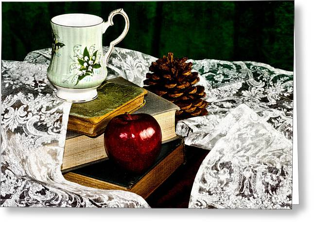 Stacks Of Books Greeting Cards - An Apple a Day Greeting Card by Camille Lopez