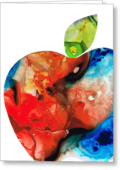 Brown Pears Greeting Cards - An Apple A Day - Colorful Fruit Art By Sharon Cummings  Greeting Card by Sharon Cummings