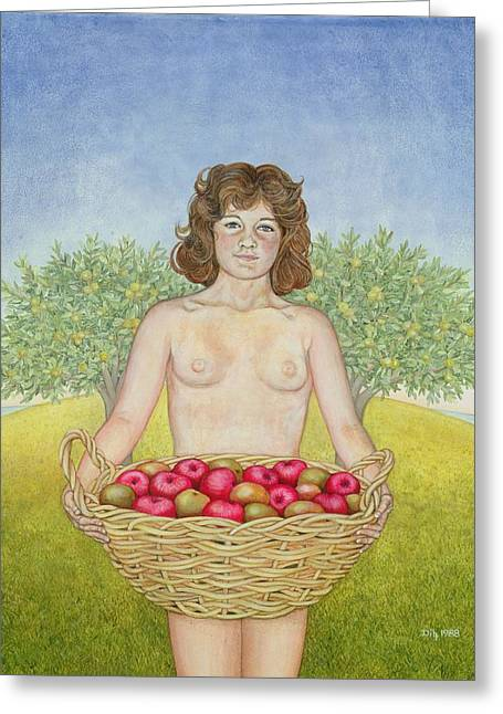 Eve Greeting Cards - An Apple A Day, Triptych Part Two Greeting Card by Ditz