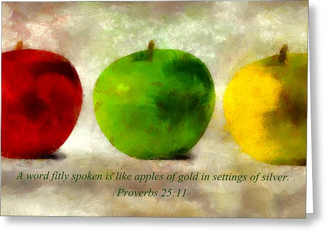 Bible Mixed Media Greeting Cards - An Apple A Day With Proverbs Greeting Card by Angelina Vick