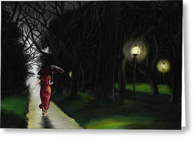A Girl In A Wood Greeting Cards - An approaching evening moistened by the soft rain piercing the clouds - Rain in the woods Greeting Card by Neelanjan Bardhan