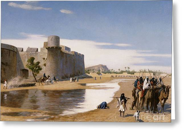 Boundary Waters Paintings Greeting Cards - An Arab Caravan outside a Fortified Town Greeting Card by Jean Leon Gerome