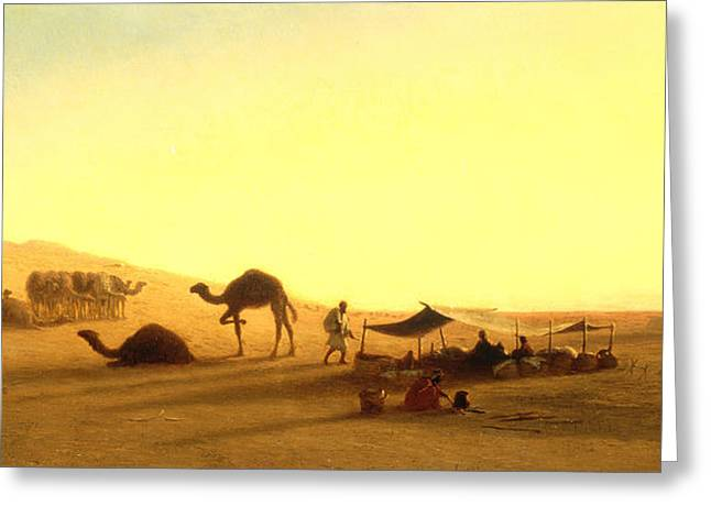 Sand Dunes Paintings Greeting Cards - An Arab Encampment  Greeting Card by Charles Theodore Frere