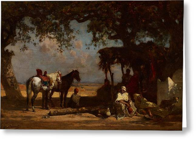 Trader Greeting Cards - An Arab Encampment Greeting Card by Gustave Guillaumet