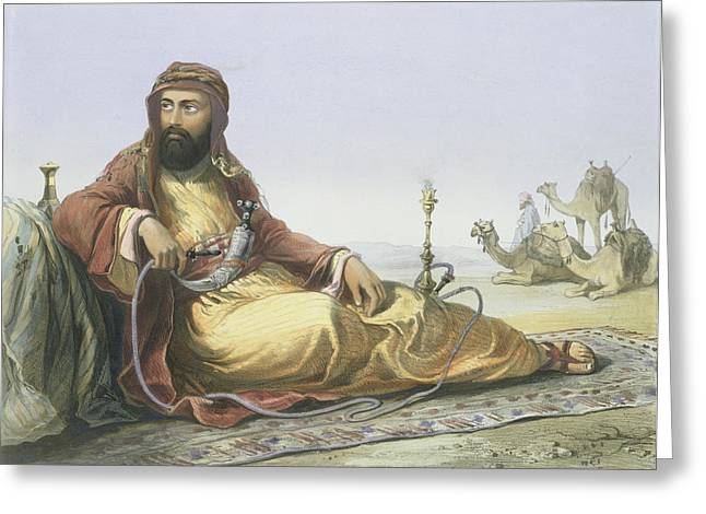 Orientalist Greeting Cards - An Arab Resting In The Desert, Title Greeting Card by Emile Prisse d