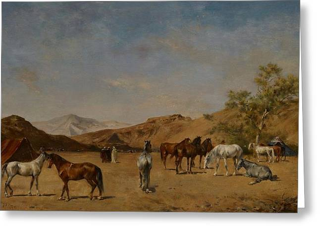 Encampment Greeting Cards - An Arabian Camp Greeting Card by Eugene Fromentin