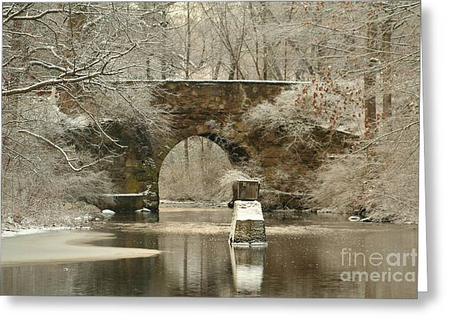 An Arched Stone Bridge Greeting Card by Linda Jackson