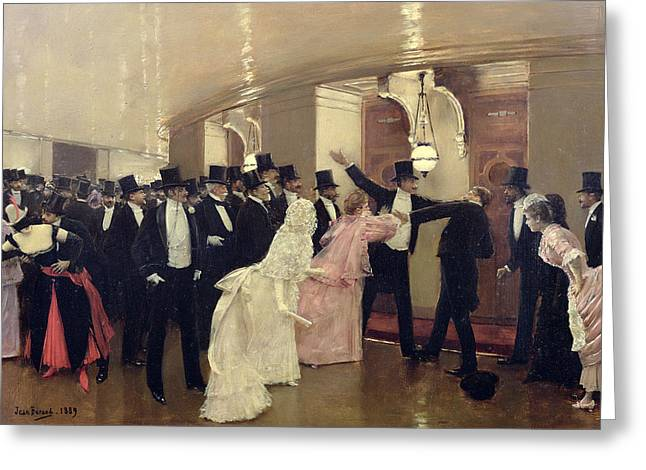 Paris In Lights Greeting Cards - An Argument in the Corridors of the Opera Greeting Card by Jean Beraud