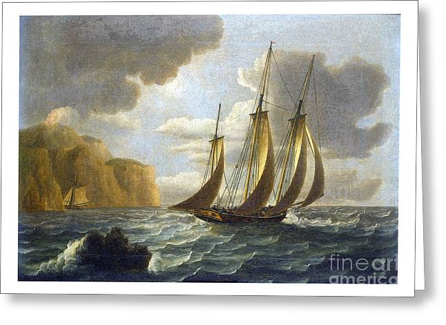 Sailing Ship Greeting Cards - An armed revenue cutter on patrol with a potential quarry sheltering below the cliffs Greeting Card by Pablo Romero