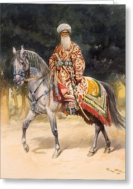 Male Horse Greeting Cards - An Armed Warrior Mounted On A Turkoman Greeting Card by