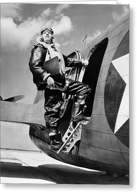 Military Airplanes Greeting Cards - An Army Air Force Navigator Greeting Card by Underwood Archives