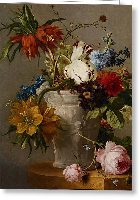 Floral Still Life Greeting Cards - An Arrangement with Flowers Greeting Card by Georgius Jacobus Johannes van Os