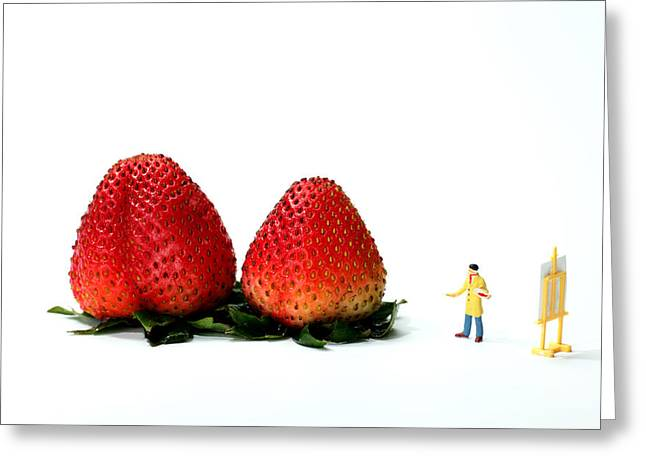An Artist drawing strawberries Greeting Card by Paul Ge