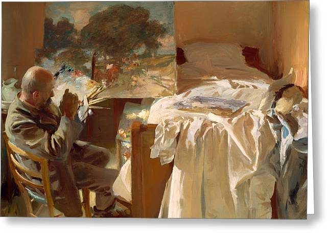 Vintage Painter Greeting Cards - An Artist in His Studio Greeting Card by John Singer Sargent