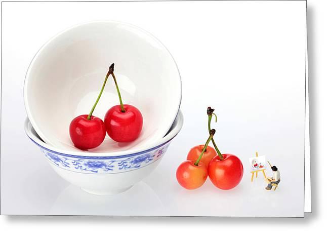 An Artist Painting Cherries Miniature Art Greeting Card by Paul Ge