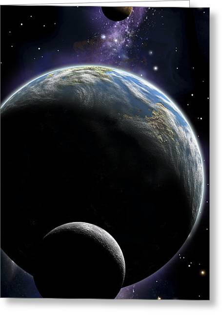 Luminous Globe Greeting Cards - An Artists Depiction Of An Earth Type Greeting Card by Marc Ward