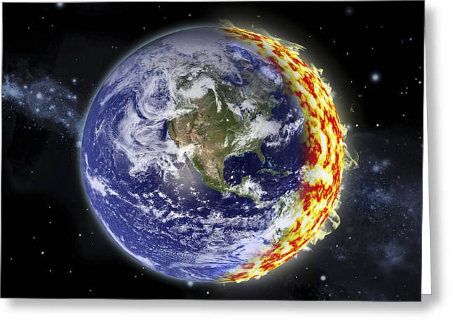 Deep Fears Greeting Cards - An Artists Depiction Of Planet Earth Greeting Card by Marc Ward