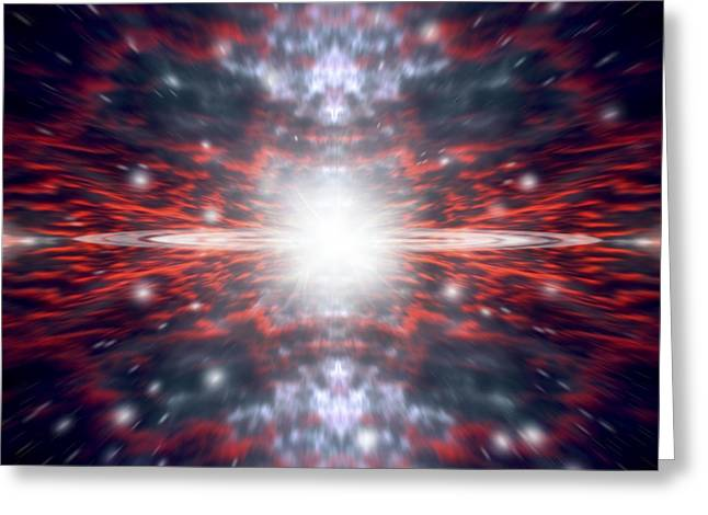 Warp Speed Greeting Cards - An Artists Depiction Of The Big Bang Greeting Card by Marc Ward