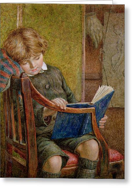 Library Greeting Cards - An Artists Son Greeting Card by Charles James Adams
