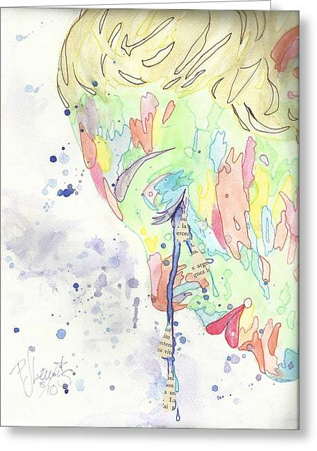 Emotions Drawings Greeting Cards - An Artists Tears Greeting Card by P J Lewis