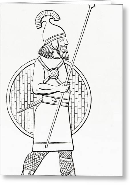 An Assyrian Spearman.  From The Imperial Bible Dictionary, Published 1889 Greeting Card by Bridgeman Images