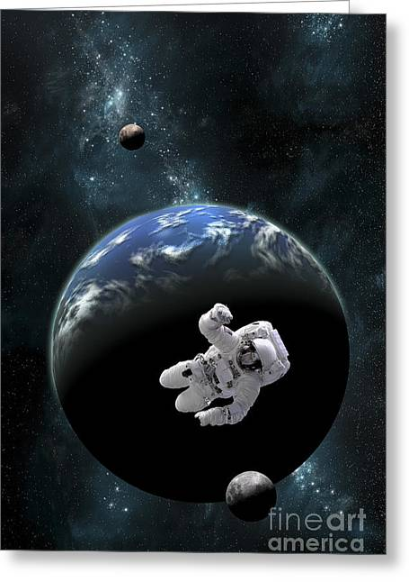 Earth Alone Greeting Cards - An Astronaut Floating In Front Greeting Card by Marc Ward