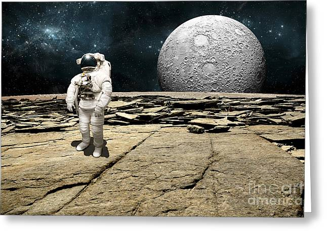 An Astronaut On A Barren Planet Greeting Card by Marc Ward