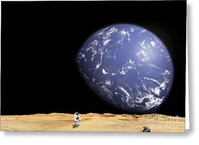 Earth Alone Greeting Cards - An Astronaut Works With His Rover While Greeting Card by Marc Ward