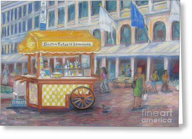 Boston Pastels Greeting Cards - An August Day at Quincy Market Greeting Card by Claire Norris