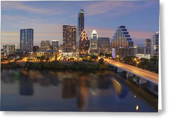 Austin Tx Greeting Cards - A Panorama of the Austin Skyline over Lady Bird Lake Greeting Card by Rob Greebon
