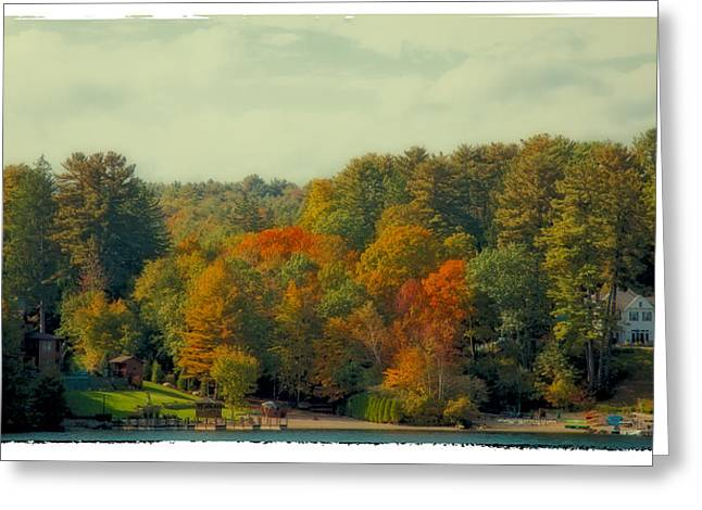 David Patterson Digital Art Greeting Cards - An Autumn Day on Lake George Greeting Card by David Patterson