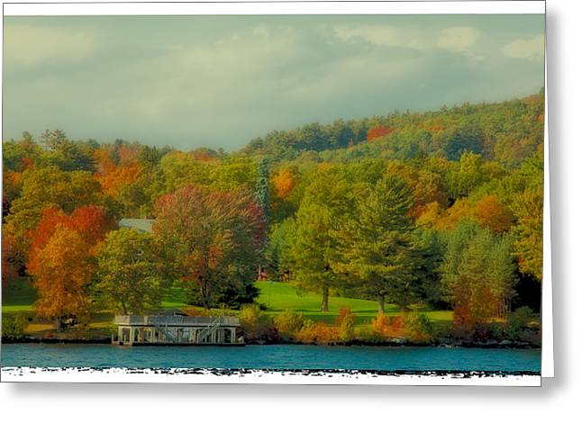 Fir Trees Greeting Cards - An Autumn Day on Lake George II Greeting Card by David Patterson