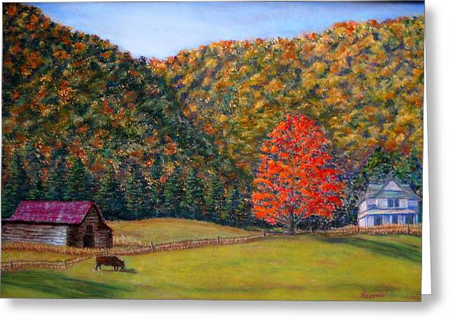 Pasture Scenes Pastels Greeting Cards - An Autumn Day Greeting Card by Sandy Hemmer