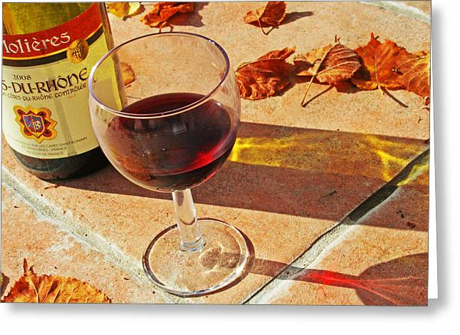 An Autumn Glass of Red Greeting Card by Nomad Art And  Design