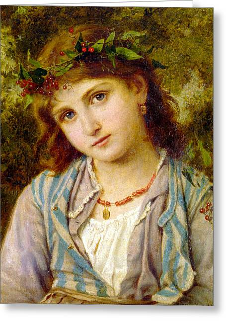 Young Teen Greeting Cards - An Autumn Princess Greeting Card by Sophie G Anderson